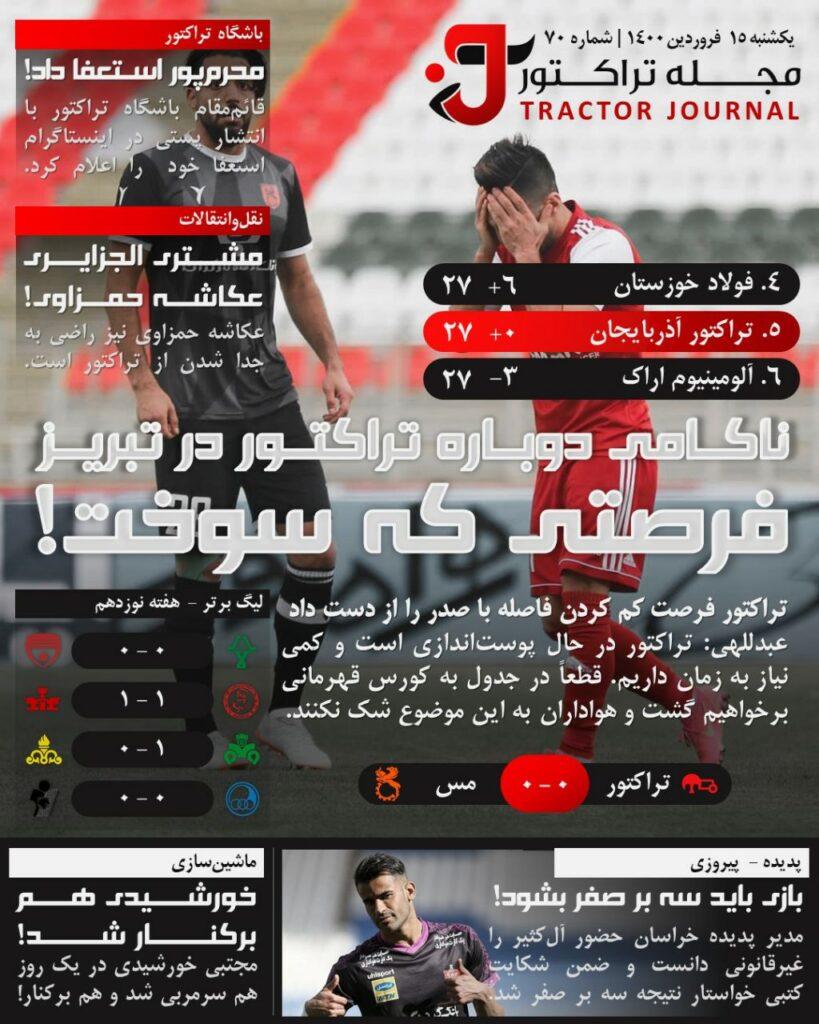 مجله تراکتور یکشنبه 15 فروردین 1400 شماره 70